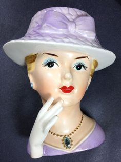 Relpo Lady Head Vase in Purple with Rhinestone Pendant