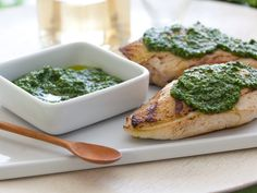Grilled Chicken with Spinach and Pine Nut Pesto