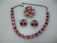 Silver Tone Pink Rhinestone and Faux Pearl by WCsTreasures on Etsy
