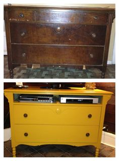 Dresser turned tv stand! [Potentially for the youth room?] I have a dresser at home that would be perfect for this