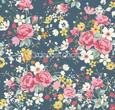 Vintage padrão rosa de papel de parede no fundo da Marinha — Ilustração de Stock #23226584