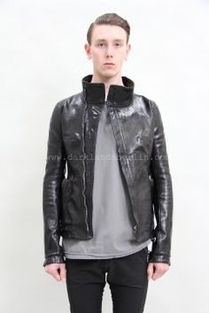 Carol Christian Poell   O.D. lined high neck leather jacket