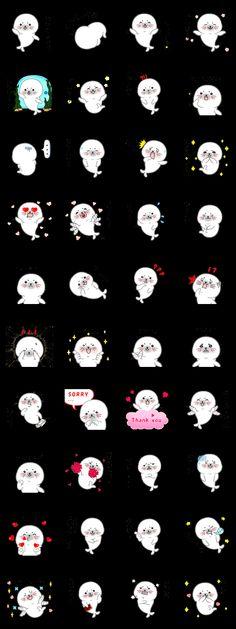 使い易い分かり易い可愛い白アザラシ40感情::スタンプ図鑑詳細 :: LINEスタンプバンク