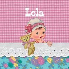retro roze Geboortekaartje Lola- Vrolijk kaartje met een kindje in een fleurig bedje - Petit Konijn