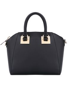 Black Casual Zipper PU Tote Bag 26.44