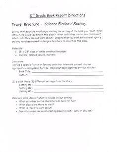 5th grade book report project