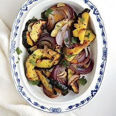 Roasted Red Onions and Delicata Squash | MyRecipes Note: Add onions to pan in oven first, then add squash 15 min in.