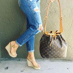 Louis Lover!! #louisvuitton #lvnoe #lvwedges #lvlover #fashion #trendy #luxury #socute #summerstyle #bagsofTPF #purseblog #purselover #moshposhfinds #mymoshposh #designerconsignment