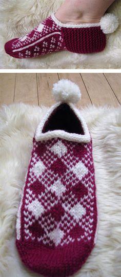 Free Knitting Pattern for Shepherd's Plaid Slippers