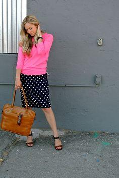 pink sweater, polka dot skirt