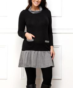 Look what I found on #zulily! Black Contrast Tunic #zulilyfinds
