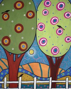 Summer Trees ACEO by Karla Gerard - Free Domestic Shipping    2.5 x 3.5 inch premium quality canvas ACEO print.    ACEOs (Art Card Editions