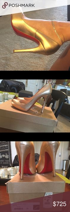 Gold Christian Louboutin heels size 39 Rolando 120 calf Laminato.      Gold Louboutins. Bought 7-8 years ago. Box has a dent in it. Shoes are in immaculate condition. Worn only a few times. Fits a US size 8-9. Christian Louboutin Shoes Heels