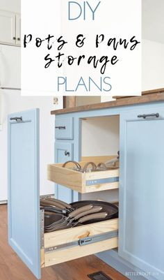 Kitchen Cabinet Organizers - Pots and Pans Storage. Grab the free plans from Bit. Kitchen Cabinet Organizers - Pots and Pans Storage. Grab the free plans from Bitterroot DIY Diy Kitchen Storage, Kitchen Cabinet Organization, Cabinet Decor, Organization Ideas, Kitchen Organizers, Cabinet Space, Cabinet Makeover, Cabinet Design, Storage Ideas