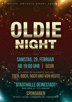 Oldie Night Party Flyer Vorlage, Design inkl. Druck, P0002A | Flyer | Designvorlagen | Despri