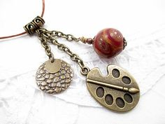 Metal Victorian Steampunk Green Lariat by LittleBitsOFaith on Etsy, $25.00