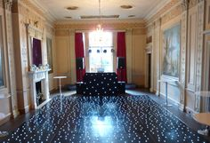 Black LED dance floor with black S&H star cloth DJ booth at Home House in Central London White Lead, All White, Led Dance, Dance Floors, Dj Booth, Living Spaces, Party Ideas, London, Star