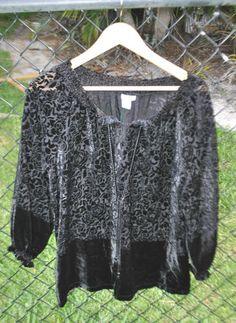 GU Womens JONES NY PHEASANT BLOUSE TOP SHIRT Black Burn Out SMALL S velvet sheer $29.99