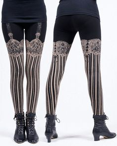 ships Thursday 31st!** ★the Burlesque Legging! ~Intricate hand-drawn lace and garters atop vertical stripes and a pretty bow at the back!~ Make the