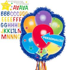 Pull String Personalized Balloons Pinata 21in x 17 1/4in x 3in - Party City