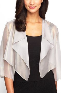 "Alex Evenings Ruffle Drape Jacket available at #Nordstrom. A pearlescent luster brightens this airy three-quarter-sleeve jacket designed with a cascading open front, making it perfect as an elegant topper over dresses and blouses. 16"" shortest-point length; 20"" longest-point length (size Medium). Open front. Three-quarter sleeves. 100% polyester. Machine wash cold, dry flat. By Alex Evenings; imported. Special Occasion."