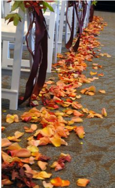 This is one of our ideas .. Throw leaves instead of petals