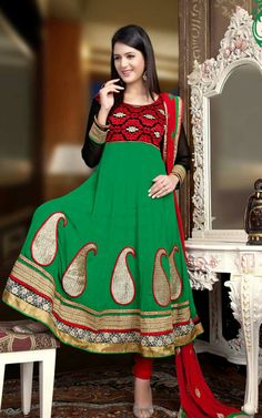 RED & GREEN GEORGETTE ANARKALI SALWAR KAMEEZ - QUE 1111