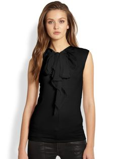 Ralph Lauren Blue Label Collection Black Kamila Bowfront Sleeveless Blouse