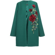 Dolce & Gabbana Double Crepe Sequin Rose Embroidered Coat (473.905 RUB) ❤ liked on Polyvore featuring outerwear, coats, green coat, dolce gabbana coat, collarless coat, long sleeve coat and sequin coat