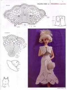 Výsledek obrázku pro ropa de barbie tejida a crochet grafico