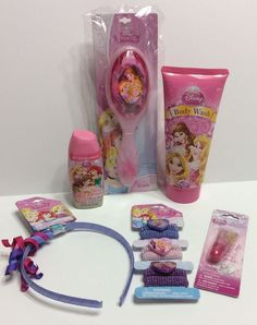 Disney Princess Gift Set Lot Stocking Hair Accessories Dress Up Lip Gloss Brush #Disney