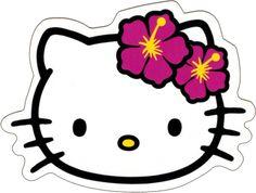 "STICKER / DECAL:  HELLO KITTY Face Shot with Hibiscus Hawaiian Flowers (Hawaii) Sticker (4.375"" x 3.25"") - $2.99 - 1-DCD-15768"