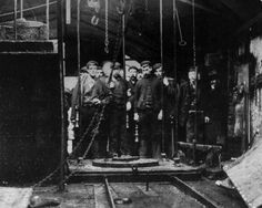 A rescue party, circa 1905, waiting to descend the mine shaft during a Welsh mining disaster at the Wattstown Colliery in the Rhondda Fach Valley, images from the Rhondda valley daily life - Google Search