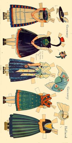 Peasant Costumes of Europe * For lots of free Christmas paper dolls… Paper Toys, Paper Crafts, Thinking Day, Vintage Paper Dolls, Retro Toys, Christmas Paper, Printable Paper, 18 Inch Doll, Art Pages