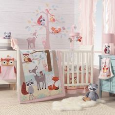 Neutral Nursery Crib Set For Baby Girl And Boy Brown Woodland Animals 7 Piece Crib Bedding Set Including 4 Bumper Pads