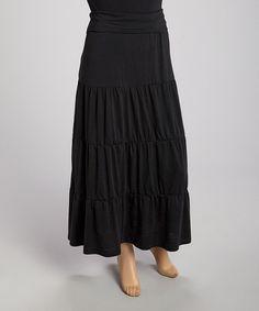 Love this Black Peasant Maxi Skirt - Plus on #zulily! #zulilyfinds