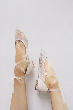 BHLDN Marielena Lace Flats in  Bride Bridal Shoes | BHLDN