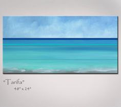 Abstract Art Painting, Beach Art, Abstract Seascape - Turquoise Blue & Sea Green - Shipping Included - Large: 48x24, Original Ocean Painting. $289.00, via Etsy.