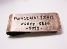 Hand Stamped Money Clip  Personalized  Brushed by maybugdesign, $28.00