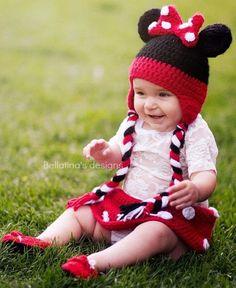 Minnie Mouse Bebek Örgü Bere Modelleri