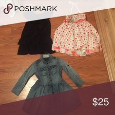 Girls dresses One is babygap, one is Bonnie Jean, and one is Ralph Lauren. All are either NWOT or have been worn once. All are practically new. Includes shirt in nxt pic Dresses