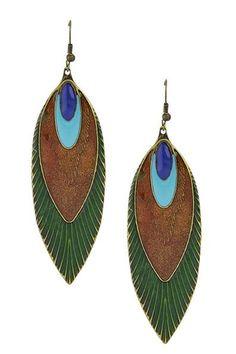 Eye Candy Los Angeles - Peacock Earrings