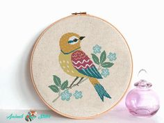 Bird cross stitch pattern pdf, Modern pattern, Animals cross stitch with blue flowers Counted cross stitch chart , nursery room decor Easy Cross Stitch Patterns, Cross Stitch Bird, Simple Cross Stitch, Cross Stitch Flowers, Cross Stitch Embroidery, Nursery Room Decor, Hades, Etsy, Blue Flowers