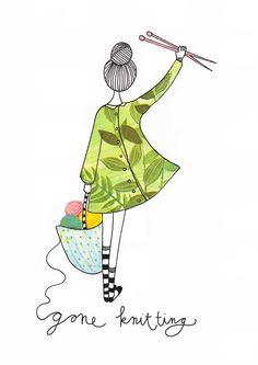 Gone knitting kaartjes die je op je deur kan hangen Of om aan iemand sturen