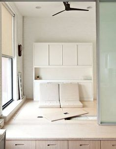 bed is stored under boards - smart
