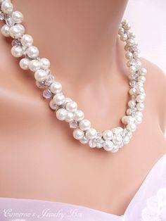Chunky White Pearl Necklace with Swarovski by CameronsJewelryBox, $35.00