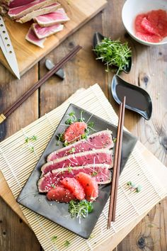"""eat turns opaque about 1/4"""" up the side. Be careful not to overcook the fish, you still want to see a nice wide pink """"ribbon"""" in the center of the steak when you look at"""