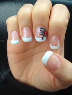 gel french manicure with flower.