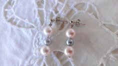 Pretty Pink and Silver Faux Pearl Dangle Earrings  by amyrigs