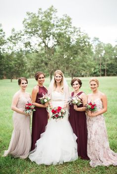 mismatched bridesmaids in wine and neutral